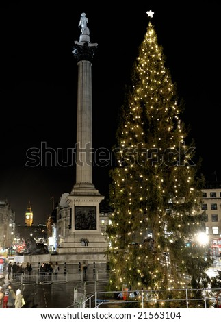 Christmas Tree in Trafalgar Square given to the people of London by the city of Oslo in gratitude for Britain's assistance to Norway during World War II. Lit on 4th December 2008. - stock photo