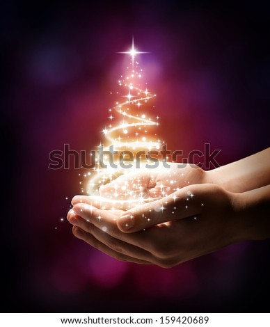 Christmas tree in your hand - red - stock photo