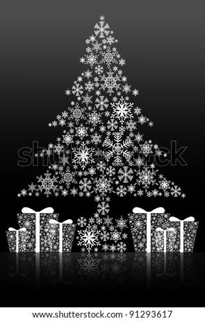 Christmas tree isolated background - stock photo