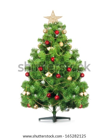 Christmas tree isolated on white background. - stock photo