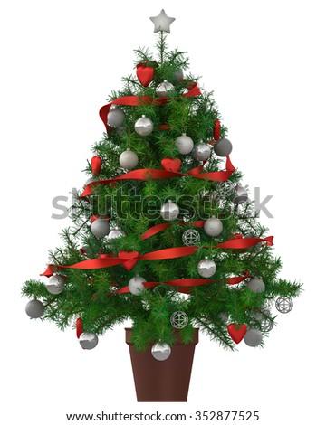 Christmas tree isolated on white background. - stock photo