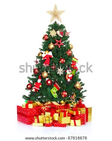 Christmas tree. Isolated on white background. - stock photo