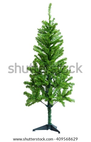 Christmas tree isolated on white black ground - stock photo