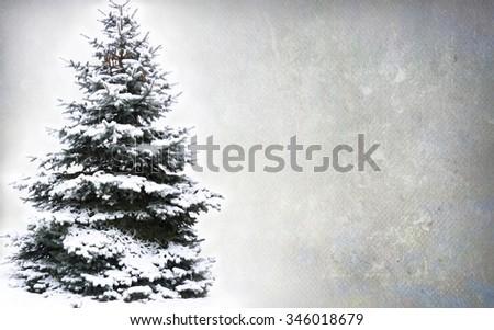 Christmas Tree - Isolated over grunge background - stock photo