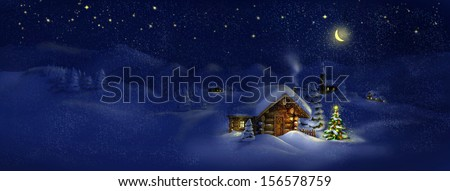 Christmas tree, lights in front of log cabin, scenic village panorama. Copy space, illustration. Suitable for postcard - stock photo