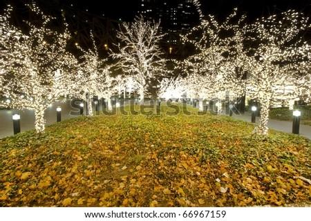 Christmas tree lights in New York city - stock photo