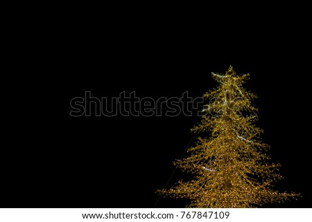 Christmas tree lights on a black background