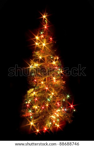 christmas tree (lights) on the black background
