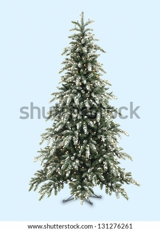 Christmas tree lit on background