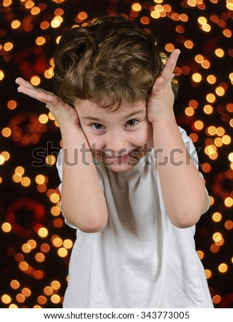 Christmas tree - little boy - stock photo