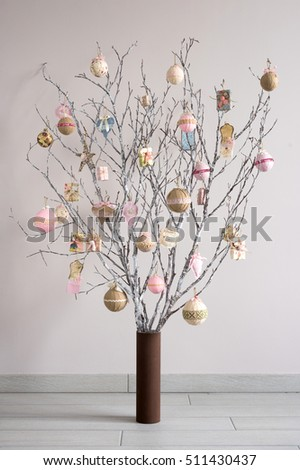 Christmas Tree Made From Branches And Vintage Balls Decoration Alternative