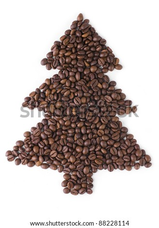 Christmas Tree  made from coffee beans.