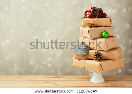 Christmas tree made from gift boxes. Alternative Christmas tree - stock photo