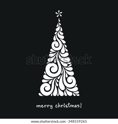 Christmas Tree Made From Swirl Shapes. Original Modern Design Element With  Floral Ornament. Greeting