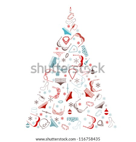 Christmas tree made from various female fashion items. - stock photo