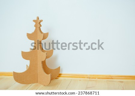 Christmas Tree Made Of Cardboard. Unique Trees. New Year - stock photo