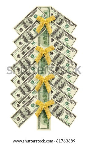 Christmas tree made of dollar bills banknote isolated on white - stock photo