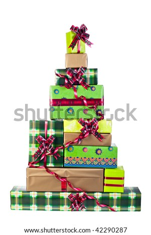 Christmas-tree made of gift boxes heap