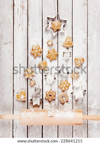 Christmas tree made of gingerbread on the table, top view - stock photo