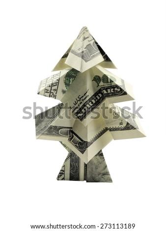 Christmas tree made of hundred dollar bills - stock photo