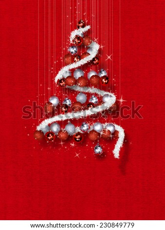 Christmas Tree Made of Ornaments on Red Textured Background- Decorative balls in Christmas tree shape on red texture template  - stock photo