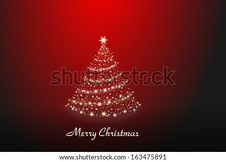 Christmas tree made of stars staying alone on a red background