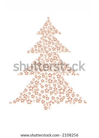 Christmas tree made of tiny stars over white background