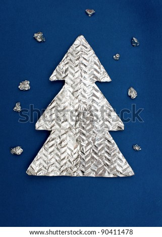 Christmas tree made ??out of foil - stock photo