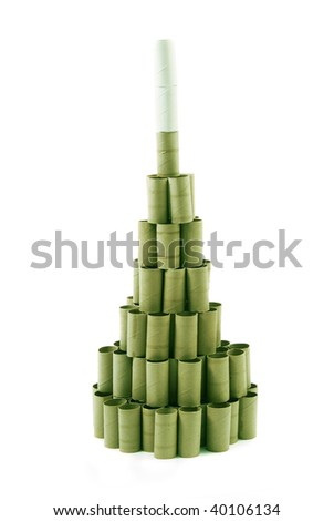 Christmas Tree made with cardboard rolls of toilet paper. Green tones. White background - stock photo