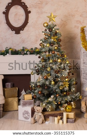 Christmas tree, new year, balloons, Santa Claus, fireplace  - stock photo
