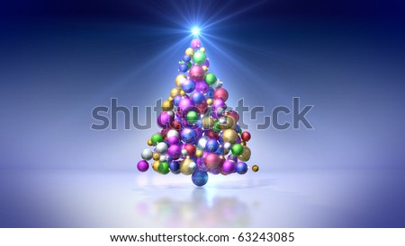 Christmas tree of colored bulbs on blue background - stock photo