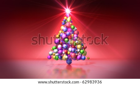 Christmas tree of colored bulbs on red background