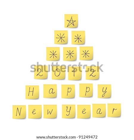 Christmas Tree of stickers. Raster version - stock photo