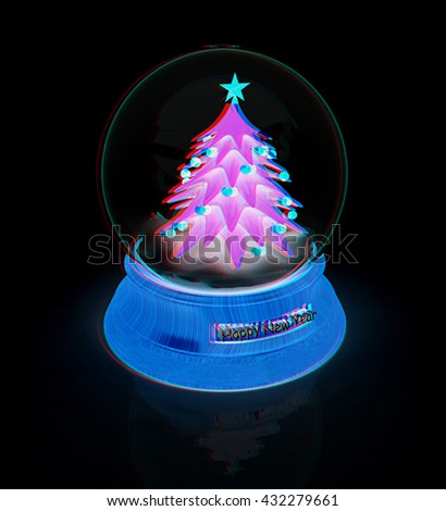 christmas tree on a black background 3d illustration anaglyph view with red
