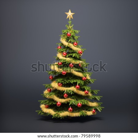 Christmas tree on a dark background - stock photo