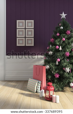 Christmas Tree On A Purple Wall 3d Rendering