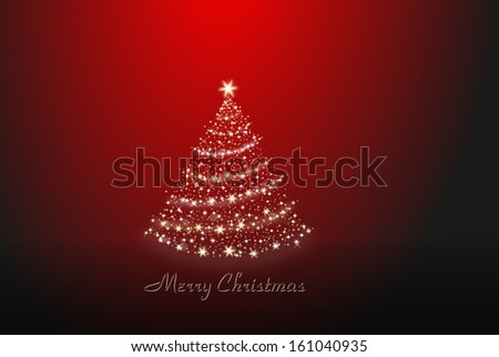 Christmas tree on a red and black background