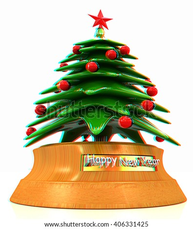 Christmas tree on a white background. 3D illustration. Anaglyph. View with red/cyan glasses to see in 3D. - stock photo