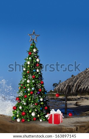 Christmas Tree On Beautiful Tropical Beach Thatched Palm Palapa House Decorated With Christmas Ornaments & Lights, Holiday Background With Copy Space For Text
