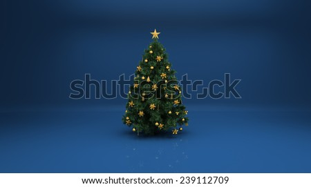 Christmas tree on blue background. Design elements for holiday cards - stock photo