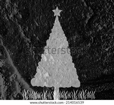 christmas tree  on Cement wall Background texture