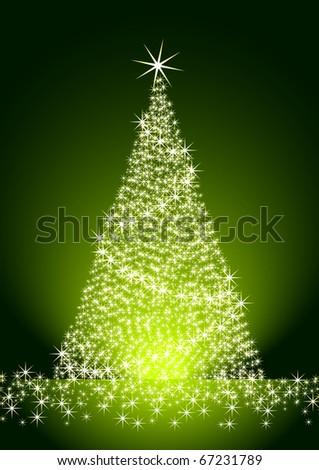 Christmas tree on green background - stock photo