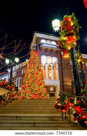 Christmas Tree on Rodeo Drive in Beverly Hills at night - stock photo