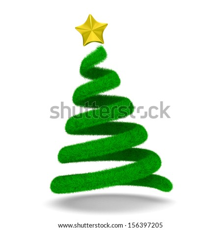 Christmas tree on white. Isolated 3d image - stock photo