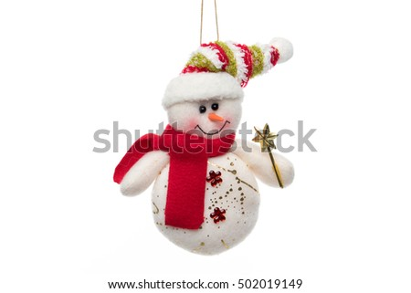 Christmas tree ornament. Funny Snowman isolated on white background.