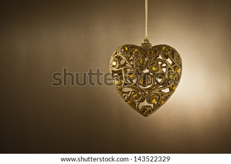 Christmas tree ornament in from of a heart