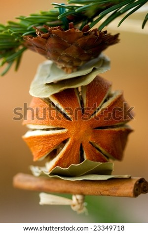 Christmas Tree Ornament Made From Dried Fruit, Spices and Plants - stock photo