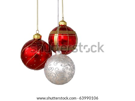 Christmas tree ornaments hanging, isolated on white background - stock photo