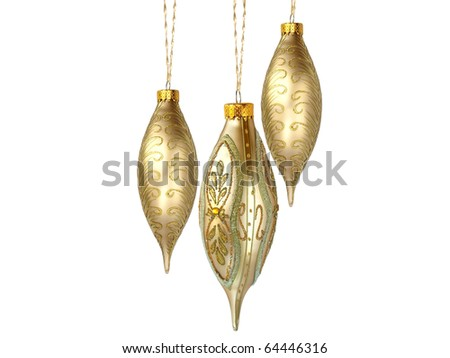 Christmas tree ornaments hanging, on white background - stock photo