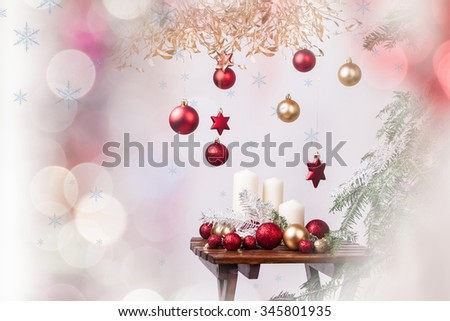 Christmas tree ornaments on Christmas background